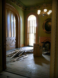 Hay House green parlor during restoration